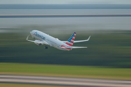 Tampa Bay, Florida August 15, 2019. American Airlines aircraft departing from Tampa International Airport_