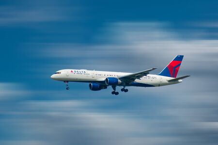 Orlando, Florida. October 10, 2019. Delta Airlines aircraft preparing to land in airport area 3