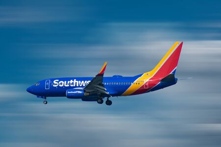 Orlando, Florida. October 10, 2019. Southwest Airlines aircraft preparing to land in airport area 4