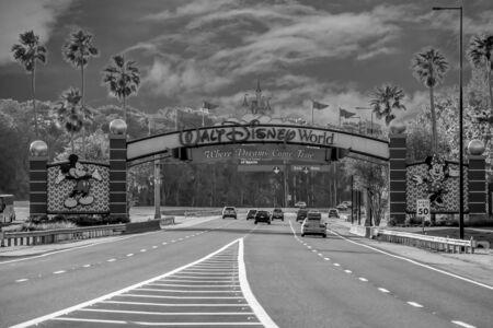 Orlando, Florida. July 11, 2019 Entrance Arch of Walt Disney Theme Parks at Lake Buena Vista area