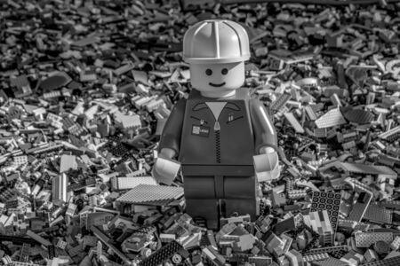 Orlando, Florida. June 15, 2019. Handyman on thousands of bricks by Lego in at Lake Buena Vista