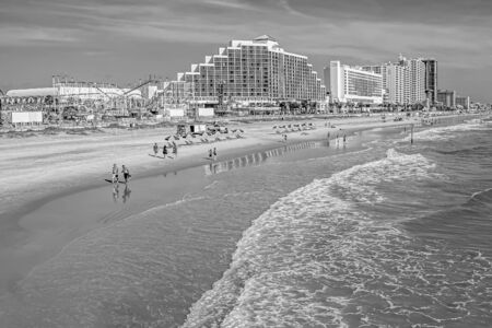 Daytona Beach, Florida. July 09, 2019 Panoramic view of Hilton Ocean Front and boardwalk on Daytona Beach.