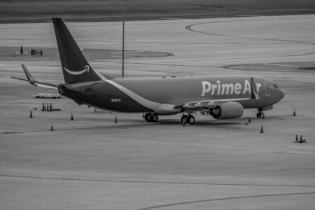Tampa Bay, Florida July 12, 2019. Prime Air aircraft on runway preparing for departure from the Tampa International Airport Editorial