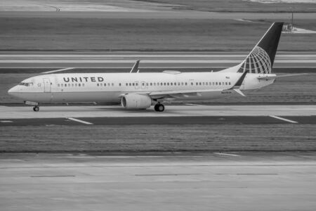 Tampa Bay, Florida, July 12, 2019 United Airlines aircraft on runway preparing for departure from the Tampa International Airport