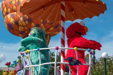 Orlando, Florida. October 29, 2019. Rosita and El mo in Sesame Street Party Parade at Seaworld 1 Editorial