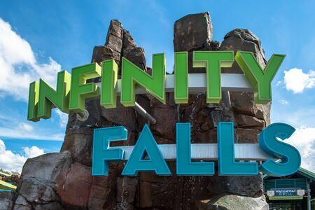 Orlando, Florida. October 29, 2019. Top view of Infinity Falls sign at Seaworld