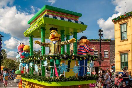 Orlando, Florida. November 22, 2019. Bert and Ernie in Sesame Steet Party Parade at Seaworld 2