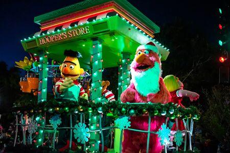 Orlando, Florida . November 24, 2019. Bert and Telly Monster at Sesame Street Christmas Parade at Seaworld 7 Editorial