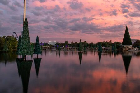 Orlando, Florida . November 23, 2019. Christmas trees on colorful background at Seaworld 1 스톡 콘텐츠 - 136925625