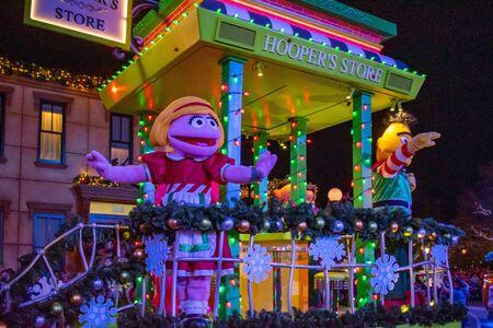 Orlando, Florida . November 23, 2019. Prairie Dawn and Bert in Sesame Street Christmas Parade at Seaworld 4