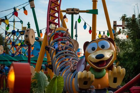 Orlando, Florida. November 27, 2019. People enjoying Slinky Dog Dash rollercoaster at Hollywood Studios (148) Editorial