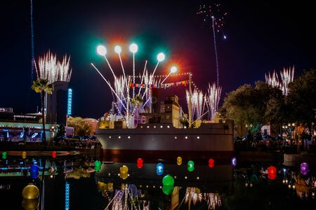 Orlando, Florida. November 27. 2019 Jingle Bell, Jingle BAM spectacular fireworks at Hollywood Studios (20) Editorial