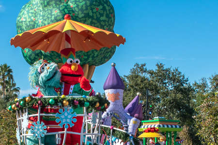 Orlando, Florida. December 07, 2019. Rosita and Elmo in Sesame Street Christmas Parade at Seaworld 1