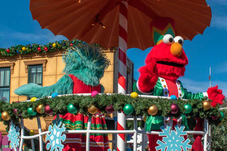 Orlando, Florida. December 07, 2019. Rosita and Elmo in Sesame Street Christmas Parade at Seaworld 4