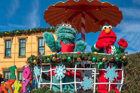 Orlando, Florida. December 07, 2019. Rosita and Elmo in Sesame Street Christmas Parade at Seaworld 8