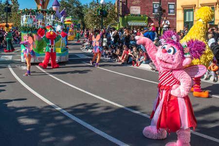 Orlando, Florida. December 07, 2019. Rosita and Elmoin Sesame Street Christmas Parade at Seaworld