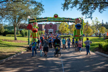 Orlando, Florida. December 07, 2019. People walking in Sesame Street Land area at Seaworld 2