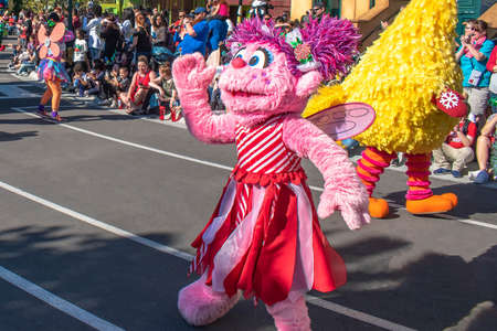 Orlando, Florida. December 07, 2019. Rosita in Sesame Street Christmas Parade at Seaworld