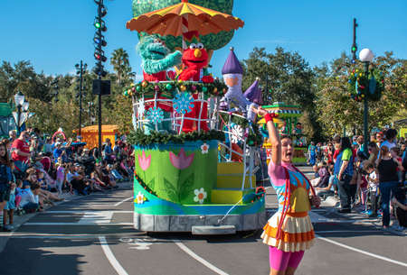 Orlando, Florida. December 07, 2019. Rosita, Elmo and dancer in Sesame Street Christmas Parade at Seaworld 1