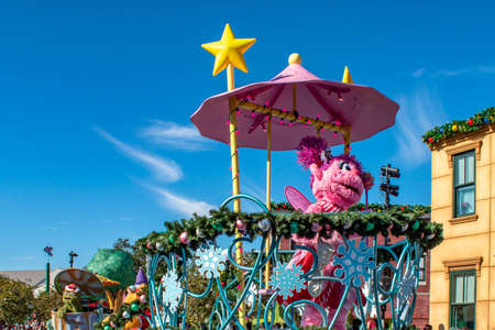 Orlando, Florida. December 07, 2019. Abby Cadabby in Sesame Street Christmas Parade at Seaworld 1