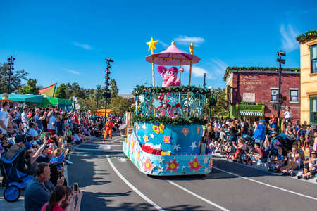 Orlando, Florida. December 07, 2019. Abby Cadabby in Sesame Street Christmas Parade at Seaworld 3