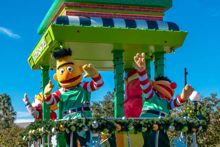 Orlando, Florida. December 07, 2019. Bert and Ernie in Sesame Street Christmas Parade at Seaworld 2