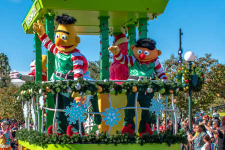 Orlando, Florida. December 07, 2019. Bert in Sesame Street Christmas Parade at Seaworld 6
