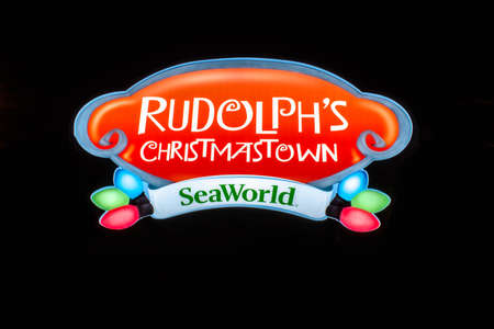 Orlando, Florida. December 30, 2019. Rudolphs Christmastown illuminated sing at Seaworld 2