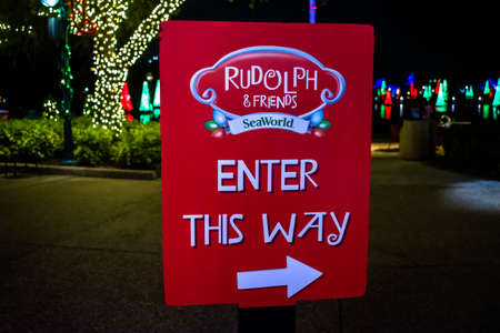 Orlando, Florida. December 30, 2019. Rudoph and Friends sign at Seaworld
