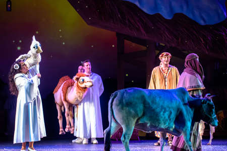 Orlando, Florida. December 30, 2019. O Wondrous Night Show is a greatest story with carols, puppets and live animals.at Seaworld (210)