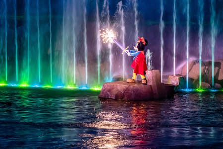 Orlando, Florida. January 03, 2020, Mickey Mouse in Fantasmic Show at Hollywood Studios (150) Editorial