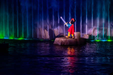 Orlando, Florida. January 03, 2020, Mickey Mouse in Fantasmic Show at Hollywood Studios (151) Editorial