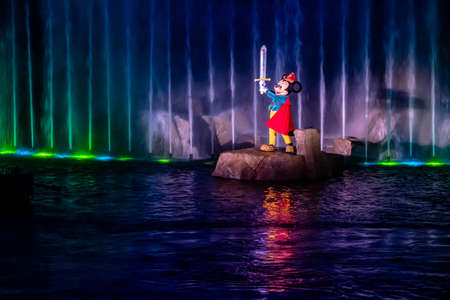 Orlando, Florida. January 03, 2020, Mickey Mouse in Fantasmic Show at Hollywood Studios (152) Editorial