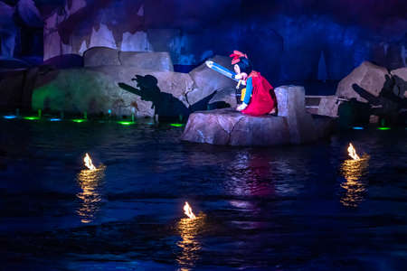 Orlando, Florida. January 03, 2020, Mickey Mouse in Fantasmic Show at Hollywood Studios (155) Editorial