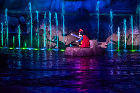 Orlando, Florida. January 03, 2020, Mickey Mouse in Fantasmic Show at Hollywood Studios (156) Editorial