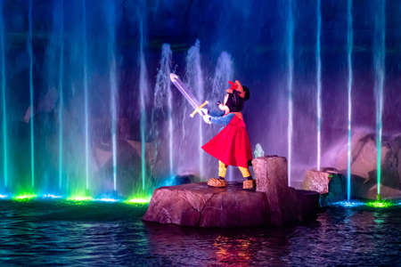 Orlando, Florida. January 03, 2020, Mickey Mouse in Fantasmic Show at Hollywood Studios (157)