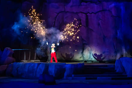 Orlando, Florida. January 03, 2020, Mickey Mouse throwing fireworks from his hands in Fantasmic Show at Hollywood Studios (145)