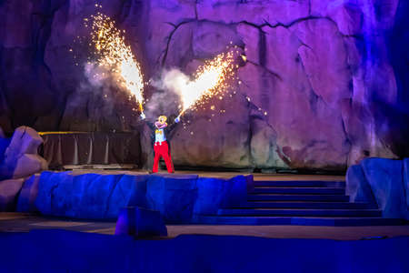 Orlando, Florida. January 03, 2020, Mickey Mouse throwing fireworks from his hands in Fantasmic Show at Hollywood Studios (146)