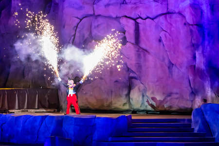 Orlando, Florida. January 03, 2020, Mickey Mouse throwing fireworks from his hands in Fantasmic Show at Hollywood Studios (147) Editorial