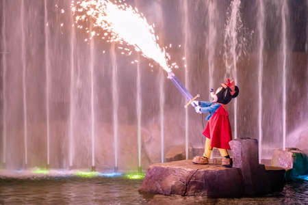 Orlando, Florida. January 03, 2020, Mickey Mouse throwing fireworks from sword at Hollywood Studios (151)