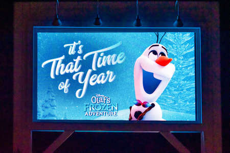 Orlando, Florida. January 03, 2020, Olaf Its That Time of Yerar on screen at Hollywood Studios (99) Editorial