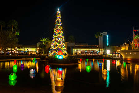 Orlando, Florida. January 03, 2020, Panoramic view of Christmas tree at Hollywood Studios (181) Editorial