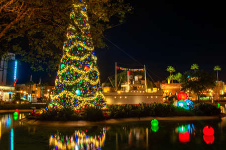 Orlando, Florida. January 03, 2020, Partial view of Christmas tree at Hollywood Studios (189)