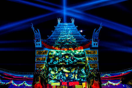 Orlando, Florida. January 03, 2020, Top view of Chinese Theater and colorful light rays at Hollywood Studios (174) Editorial