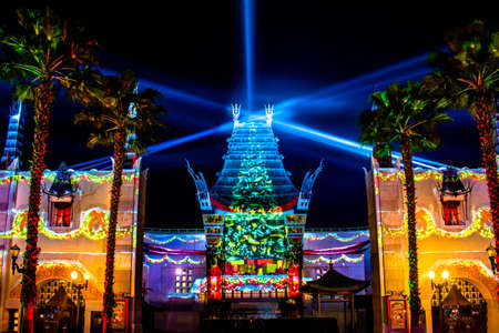 Orlando, Florida. January 03, 2020, Top view of Chinese Theater and colorful light rays at Hollywood Studios (175)
