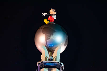 Orlando, Florida. January 03, 2020, Top view of Mickey Mouse and world sphere at Hollywood Studios (200) Editorial