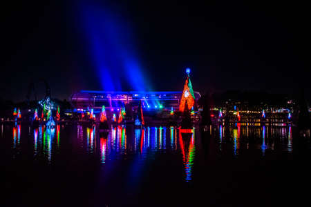 Orlando, Florida. December 30, 2019. Illuminated and colorful Sea of Christmas Trees with light rays on background at Seaworld 15