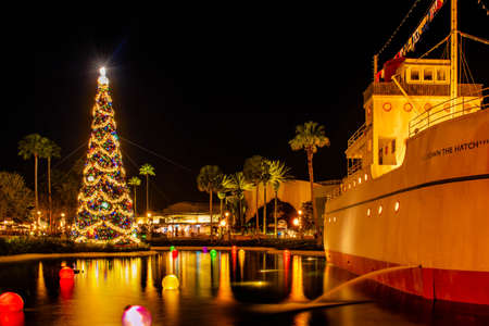 Orlando, Florida. January 03, 2020 Vintage ship and Christmas tree at Hollywood Studios (178)