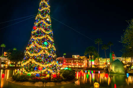 Orlando, Florida. January 03, 2020, Partial view of Christmas tree at Hollywood Studios (191)