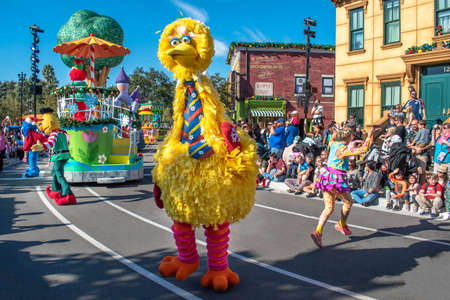 Orlando, Florida. December 07, 2019. Big Bird and Elmo in Sesame Street Christmas Parade at Seaworld 2